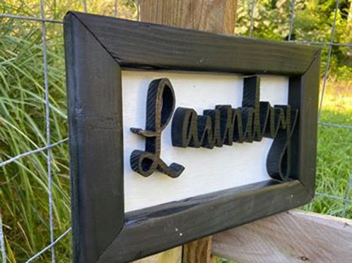 """Small Handmade Sign Reading """"Laundry"""""""