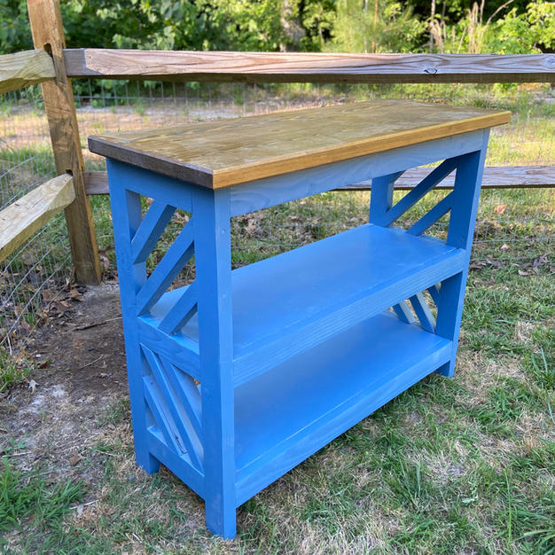 Early American Brown & Blue Entryway Console w/ Two Shelves