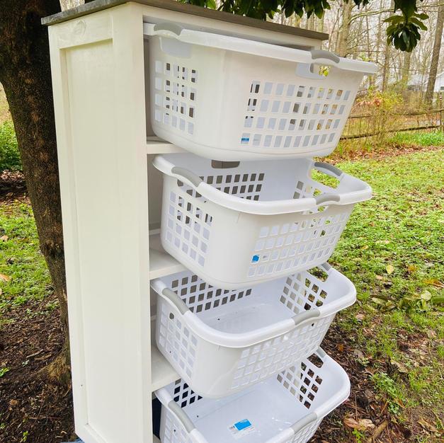 White & Gray Four Shelf Laundry Basket Storage Shelving