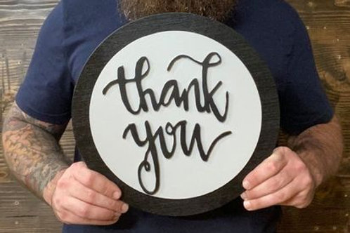 "Handmade 12"" Thank You Circle Sign"
