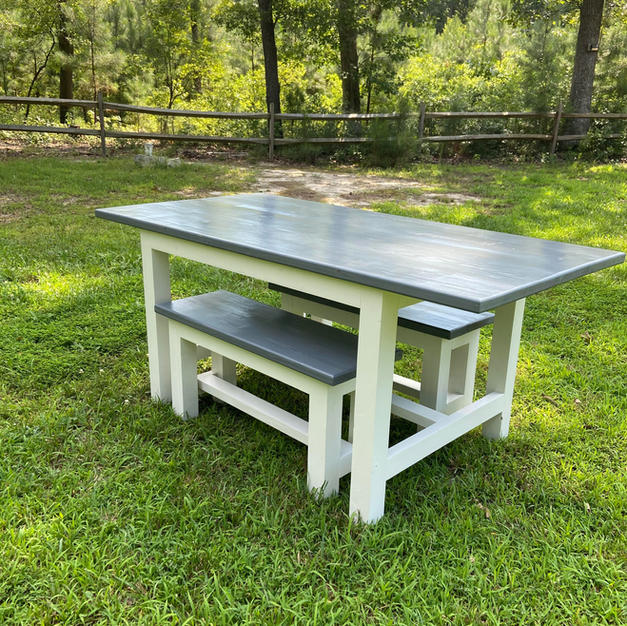 Weathered Gray & White Dining Table w/ Matching Benches