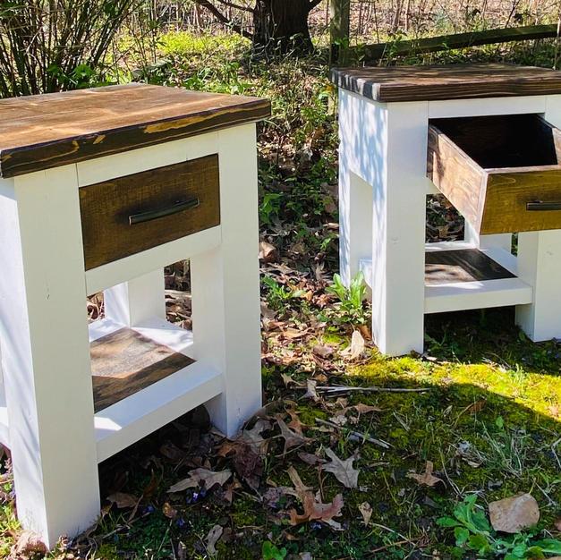 Jacobean & White Chunky Leg Endtables w/ One Shelf and Drawer