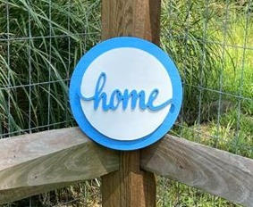 "10"" Light Blue & White Circle Sign ""home"""