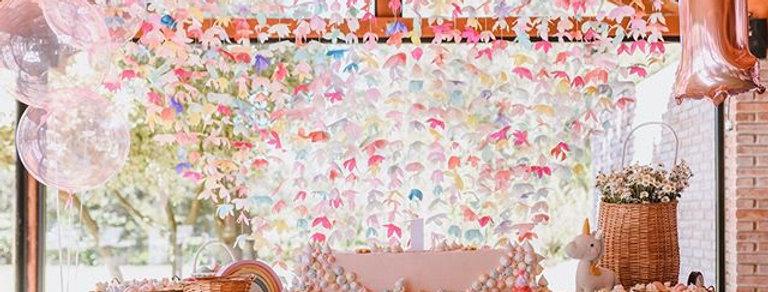 Cortina de flores multicolor
