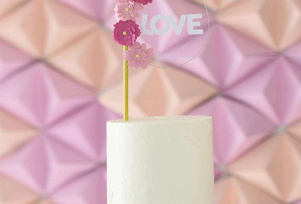 Cake topper floral 'LOVE'