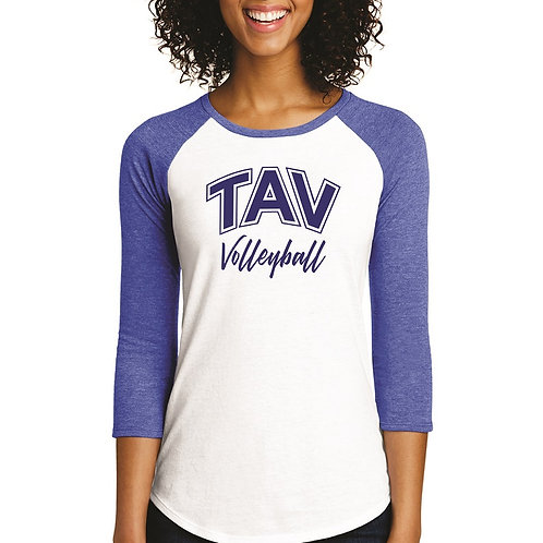 TAV VOLLEYBALL - District ® Women's Fitted 3/4-Sleeve Raglan