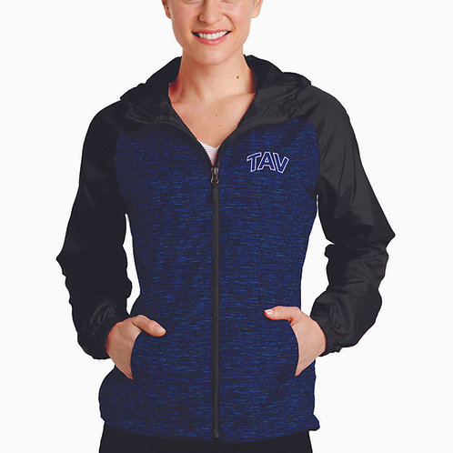 EMBROIDERED - Sport-Tek® Ladies Heather Colorblock Raglan Hooded Wind Jacket