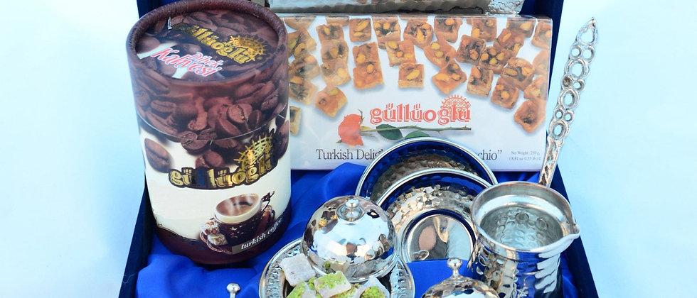 Turkish Coffee and Baklava Set (shingle Customized Name on the Baklava Plate)