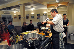 Chef Mark Gabrieau cooking at The Hawthorne Room