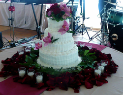 White Butter Cream with Red Roses & Pink