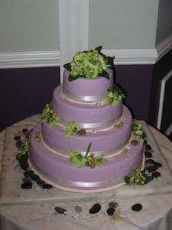 Purple and Lime Wedding Cake