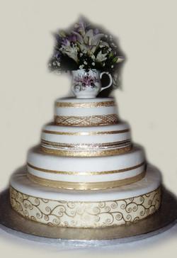 Golden Ribbon Wedding Cake