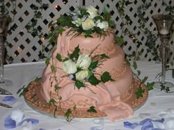 Salmon Colour Wedding Cake