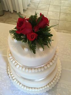 White Cake Three Layer Fondant with Giant Fondant Pearls