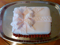 Pink Lace Bow Christening Cake
