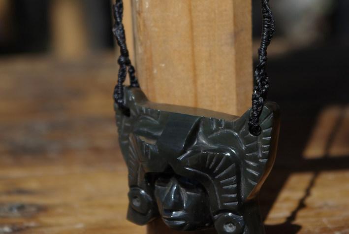 Aztec Warrior Mask rainbow obsidian jewel