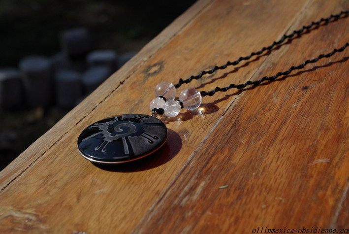 Hunab ku obsidienne collier pendentif (3