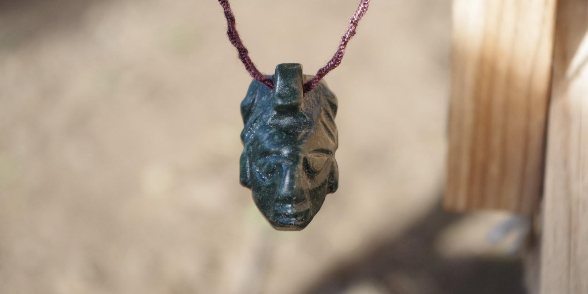 JAde Guatemala necklace pendant Maya face