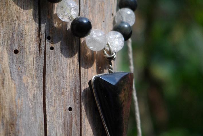 obsidienne du mexique manto huichol collier pendentif