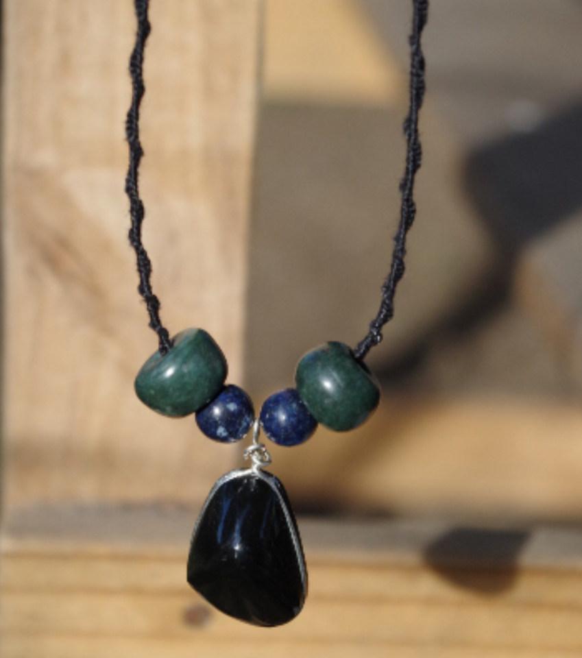 obsidienne du mexique collier pendentif