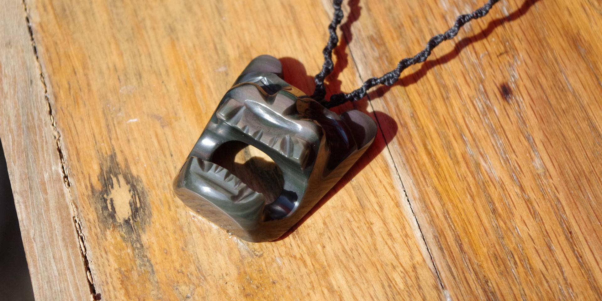 Jaguar pierre obsidienne bijou pendentif