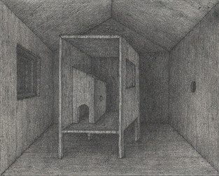 홍범, unnamed room #1, pencil, pen, ink, etching paper, 12.5x10cm, 2014