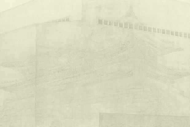서혜영, 폐허의 정원, 캔버스 위에 아크릴릭, 그라파이트 펜슬, 130x194cm, 2010