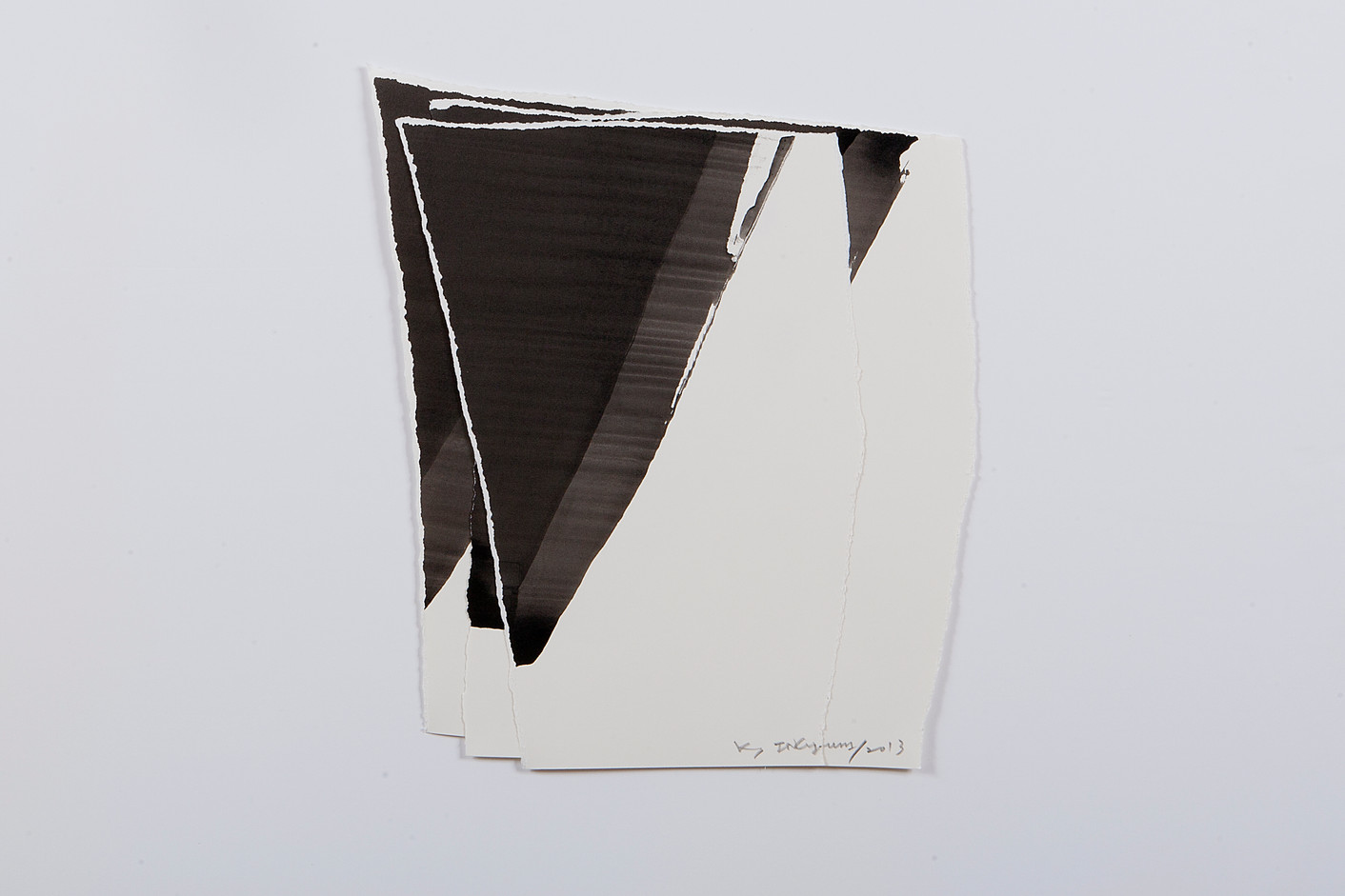 김인겸, Dessin de Sculpture(Collage), Drawn Paper with india ink, 2013