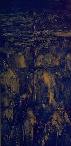 배종헌, 산조경비 #SWE01_01_콘크리트 벽면의 균열과 얼룩, 52x25cm, oil on birch plywood, 2019
