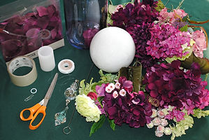 Styrofoam forms, silk flowers, floral supplies