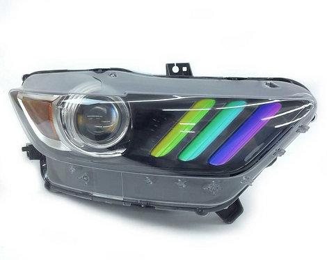 Ford Mustang (15-17): Custom Headlights Multicolor DRL