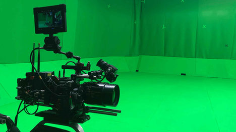Red camera on a greenscreen
