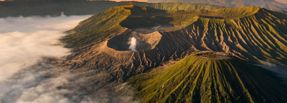 Aerial view of crater Mount Bromo during