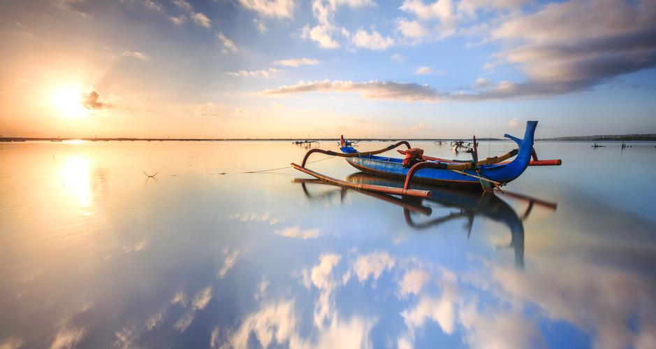 morning sun in Bali, Indonesia. Traditio