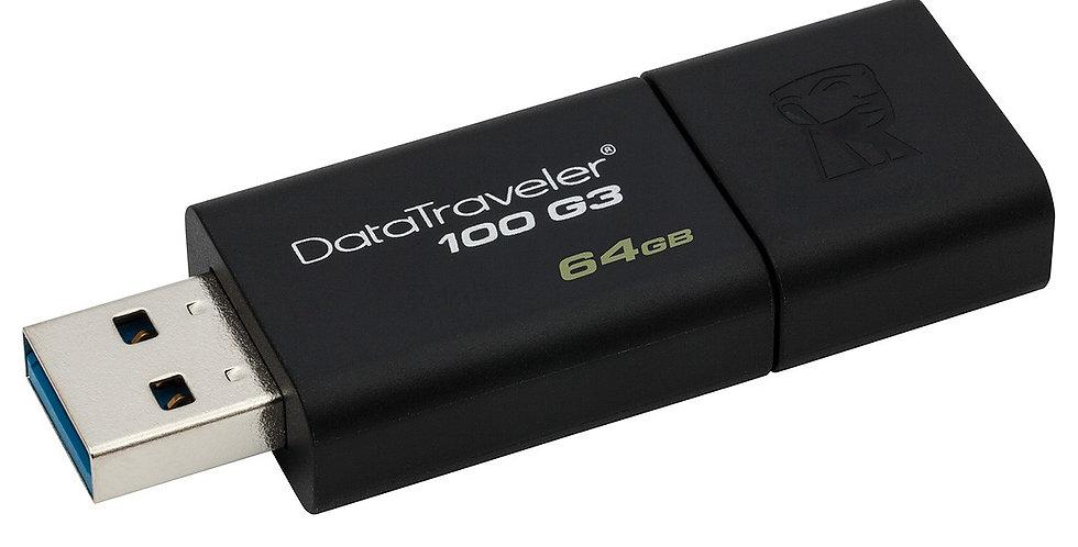 Kingston DataTraveler 100 G3 USB Drive, 64GB