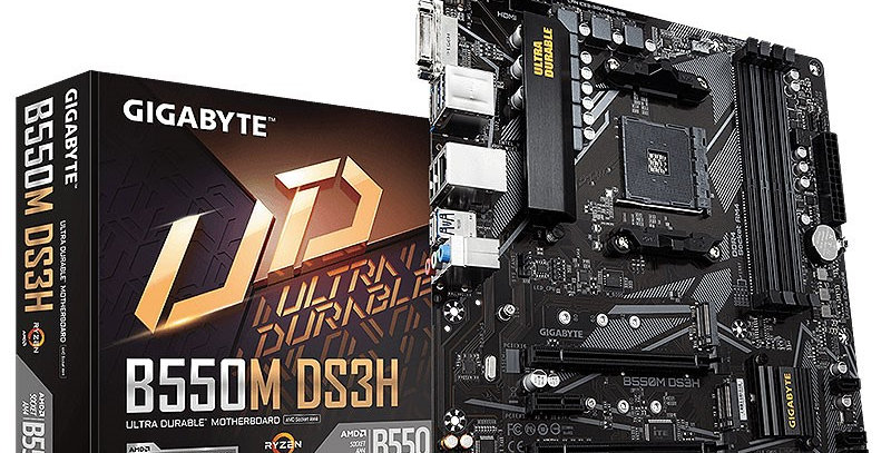 Gigabyte B550M DS3H w/ DDR4-3200, 7.1 Audio, Dual M.2, Gigabit LAN