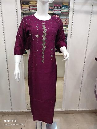 Hand work silk kurti