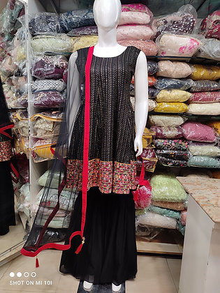 Pure jorjert fully siquind thred work peplum top with sharara