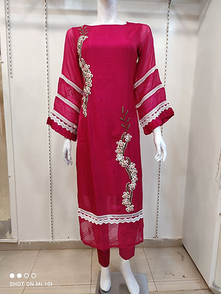 Organza kurta with bell sleeves with sigret pant