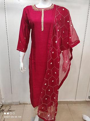Organza hand work dupatta  silk kurta