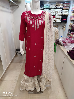 Hand work silk Kurti with heavy dupatta with sharara
