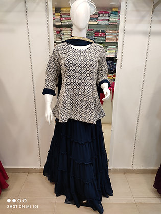 Peplum thred work top with plited fully flair skirt