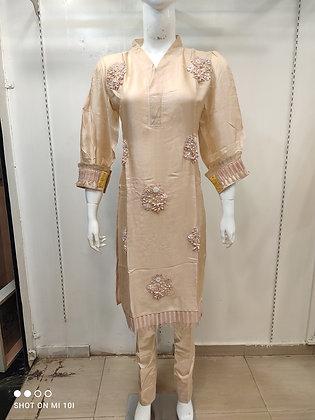 Linen silk with ganth work designer suit