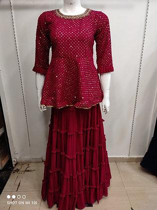 Peplum skirt with sharara