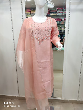 Silk kurti pearl work neck line with organza dupatta