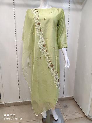 Designer hand work dupatta and silk kurti set