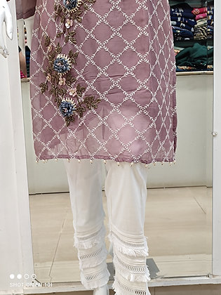 Designer with hand work kurta with pant in jorjert
