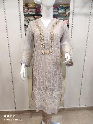 Organza silk thread work kurta with sigrate pant