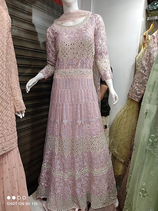 Long gown with fully thred work designer wear
