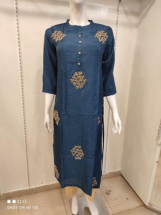 Designer hand work straight silk kurti